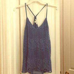 Ella Moss blue lace top